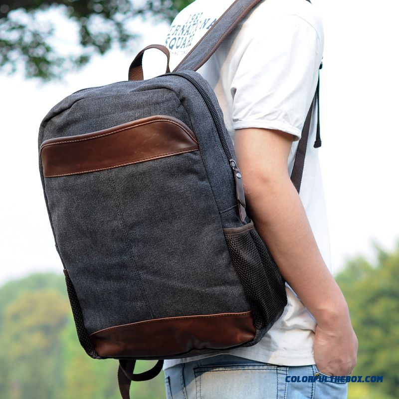 Wholesale Price Most Favorited By Young Men Backpack Canvas With Pu Leather Students' Schoolbags