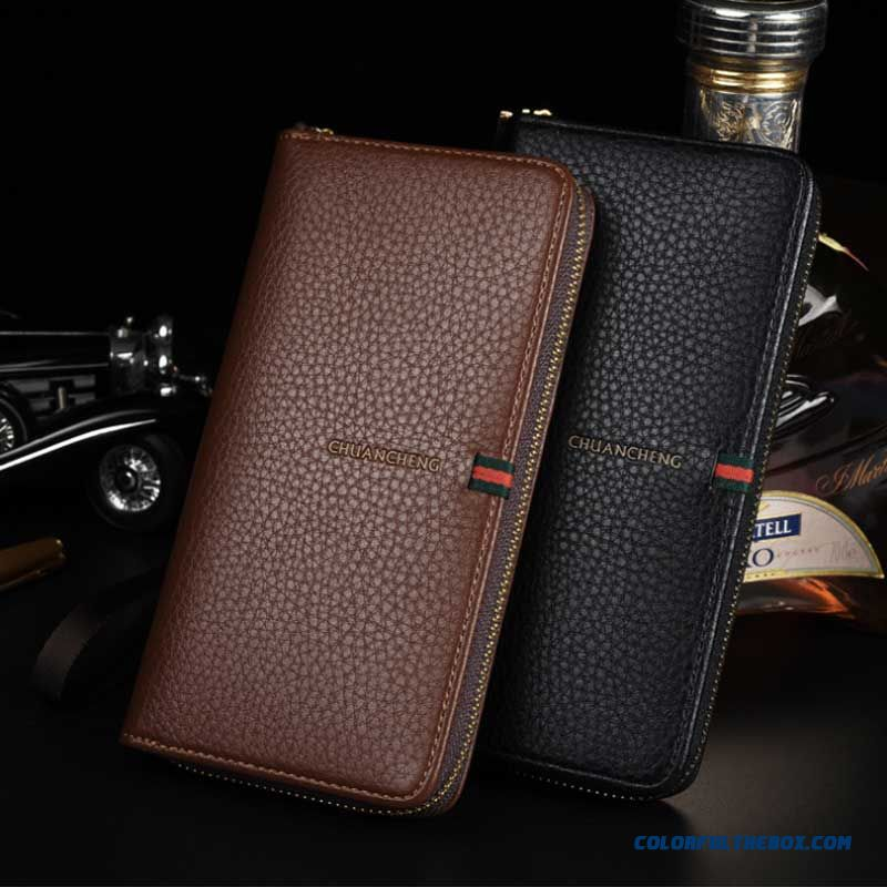 Wholesale Price Simple Men Long Wallets With Zipper Multifunction Clutch