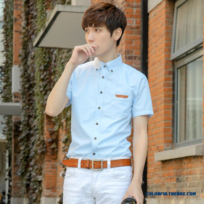 Wholesale Summer Men's Short-sleeved White Shirt Slim Solid Color Fashion