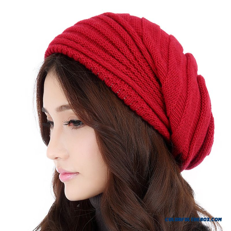 Winter Accessories For Women Sophisticated Lady Double Thicken Warm Wool Knitted Hat 5 Kinds Of Color