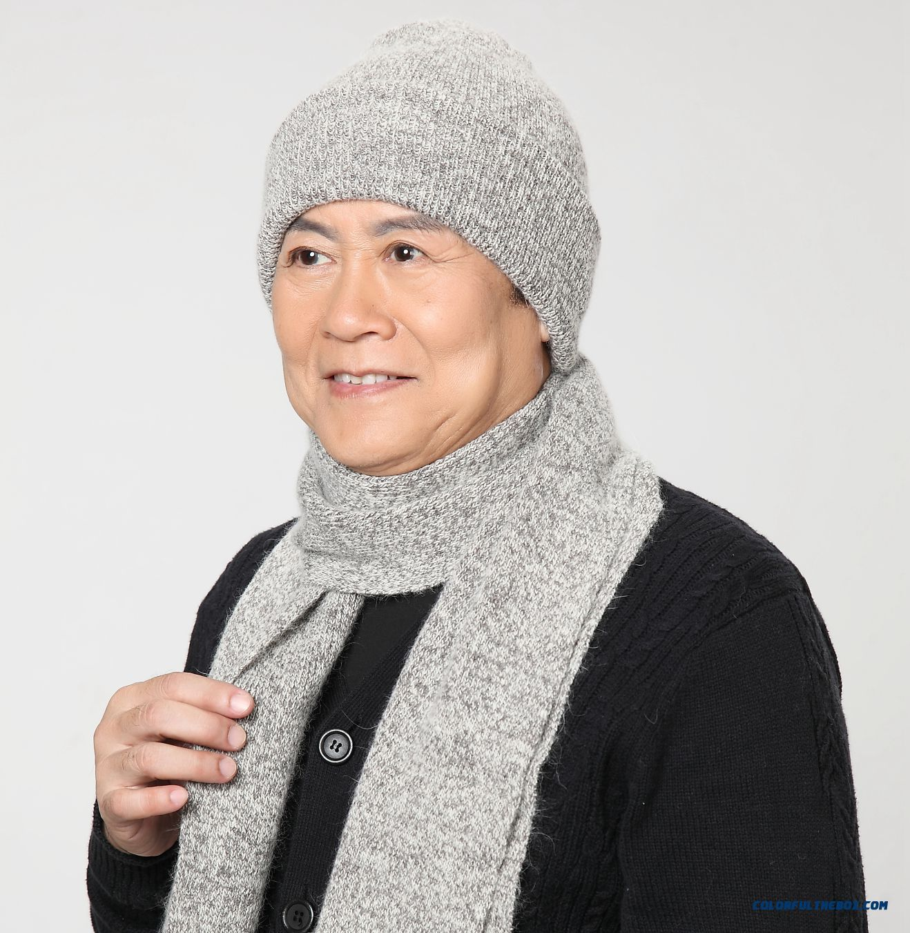Winter Accessories New Design For Elderly Men's Rabbit Wool Hat With Same Style Scarf