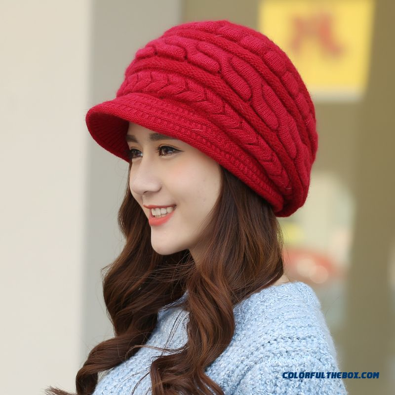 dbcc35c943f ... Winter Accessories Solid Benn Warm Knitted Wool Beret Angora Women Girl  Hat Ear Protection Function ...