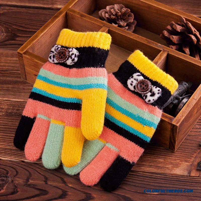 Winter Big Promotion For Girls Five Fingers Plus Thick Fluff Lines Cute Kids Students Gloves