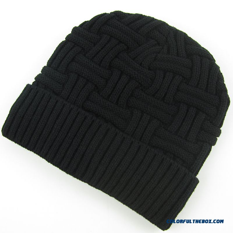 Winter Cashmere Knitted Elderly Solid Proteced Ear Cap For Elderly Men