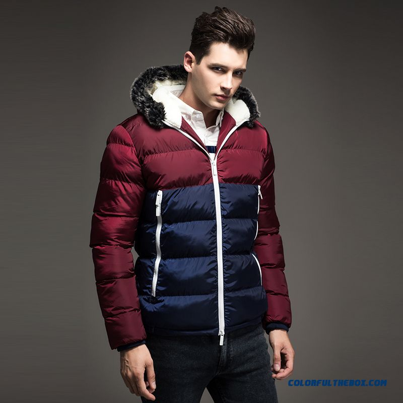 Winter Casual Men's Cotton Slim Thick Plus Velvet Hooded Down Jacket Large Size