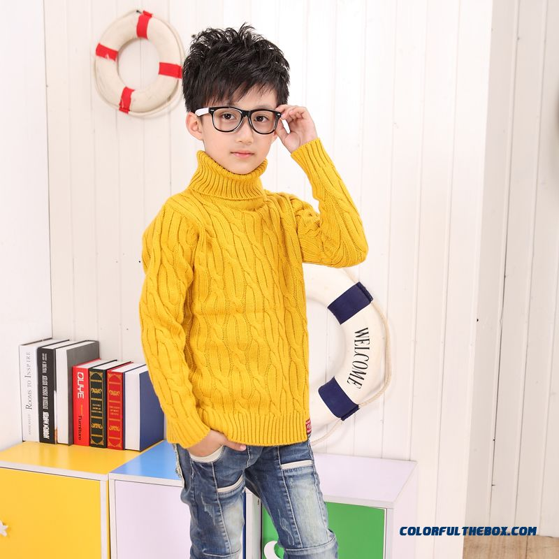 Winter Clothing Boys Thickening Wool Cashmere Sweater With High Collar Pullover Sweater Kids Bottoming