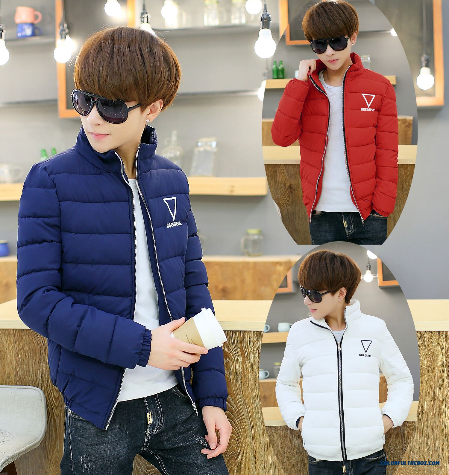 Winter Coat Stand Collar Men Korean Version Slim Fashion Casual Warm Tide