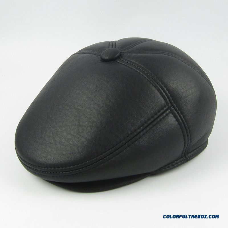 Winter Cortex Peaked Cap With Protect Ear Function Middle-aged Men's Accessories