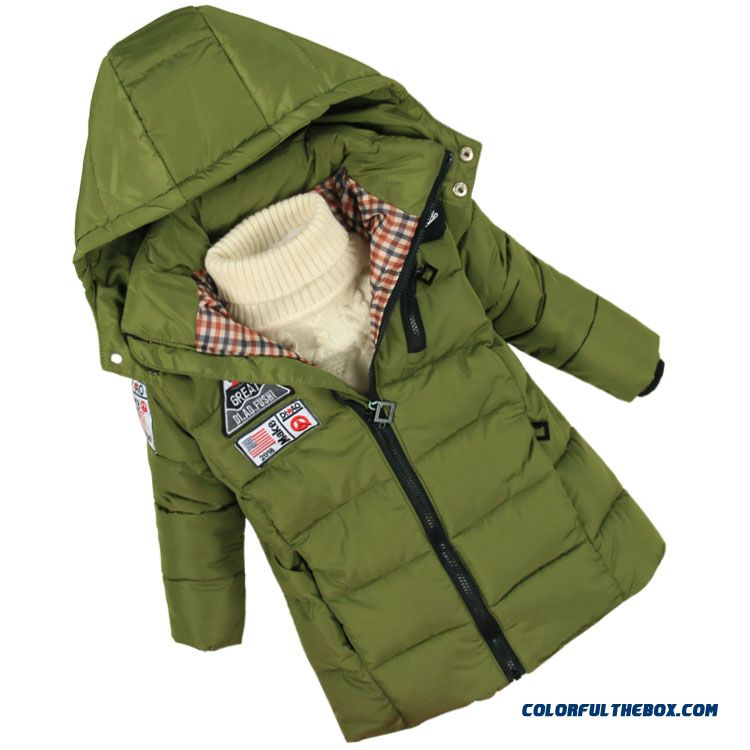 Winter Cotton - Padded Clothes Thick Padded Jacket 2016 New Kids Clothing Boys Green Coats