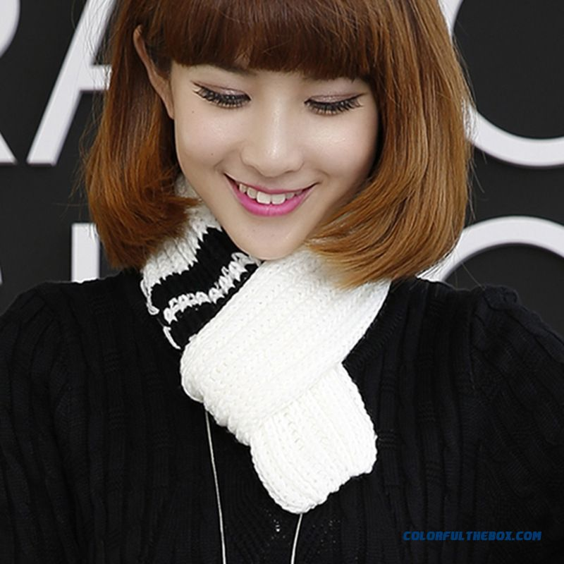Winter Cute Little Striped Wool Scarves Thicken Warm Kinted Young Women Accessories