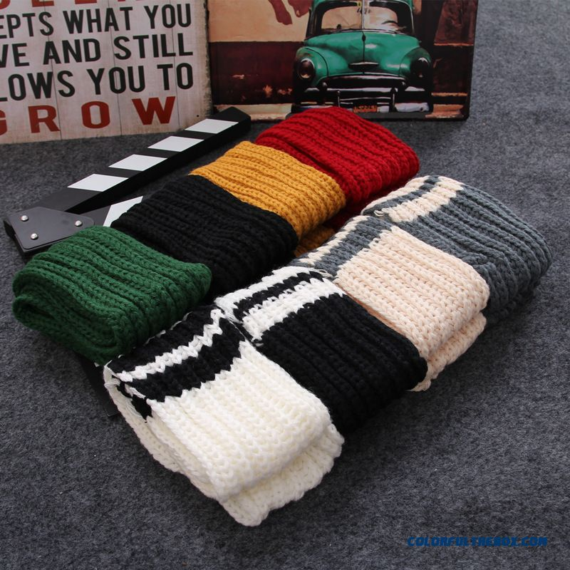 Winter Cute Little Striped Wool Scarves Thicken Warm Kinted Young Women Accessories - more images 2