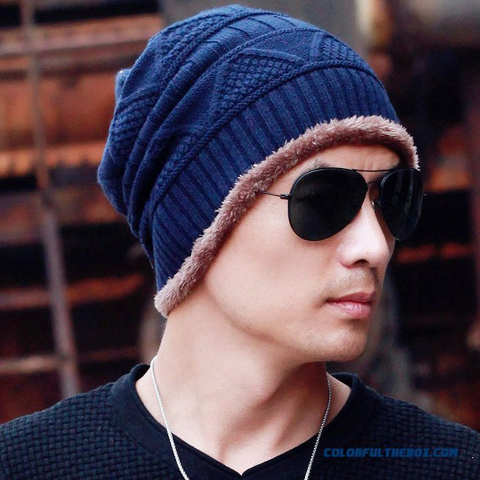 Winter Double Plus Velvet Thick Warm Knit Wool Cap Flanging Men's Accessories On Sale