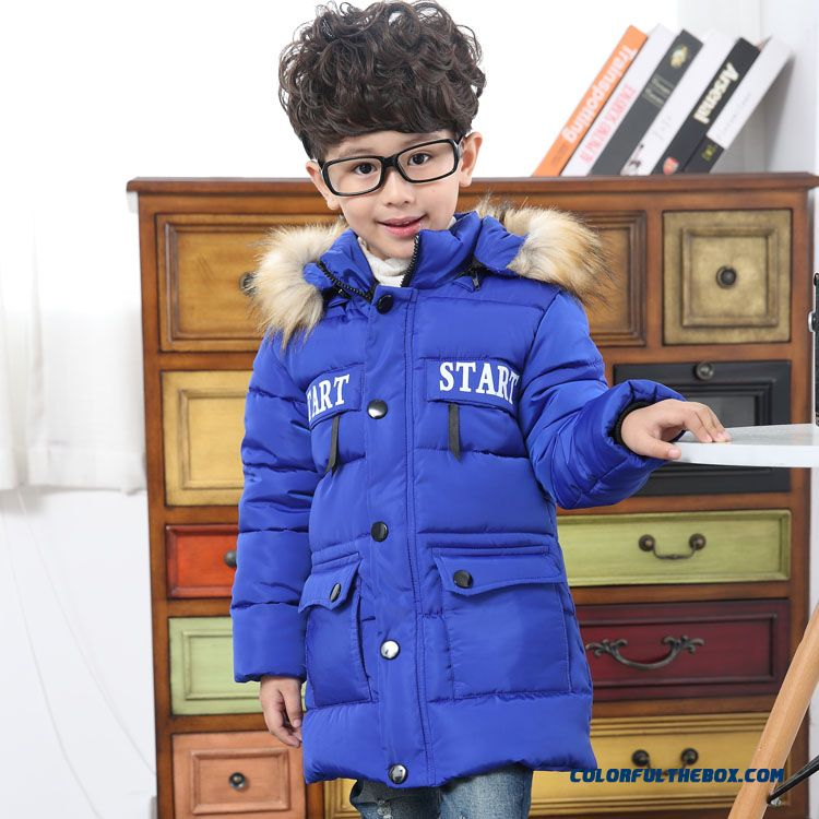Winter Essential Boys Clothing Blue Youth Energetic Fur Collar Winter Kids Coats