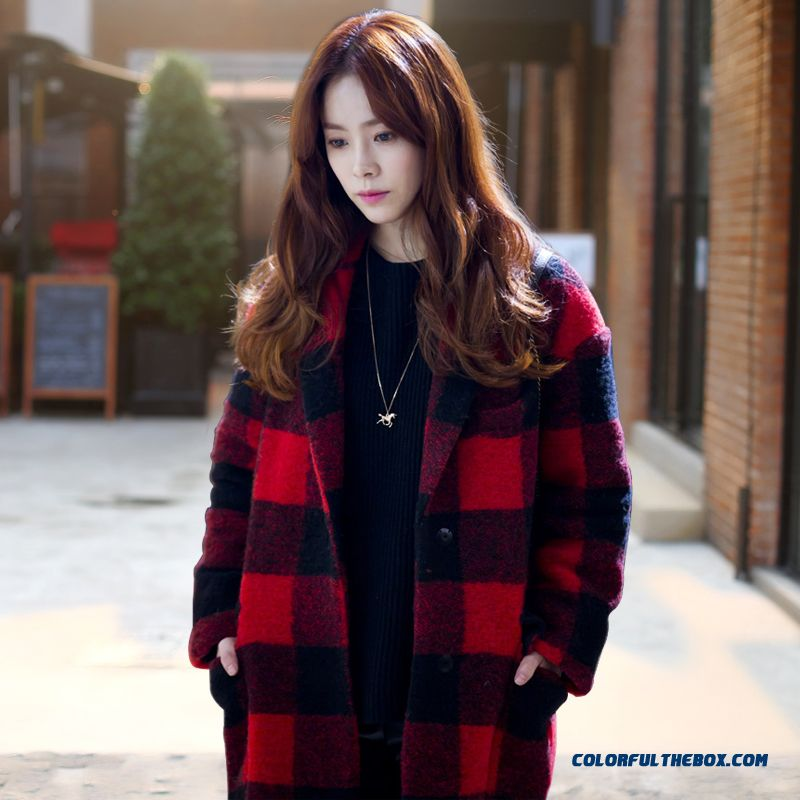 Winter Finest Quality Woolen Coats Red Black Lattice Loose For Women