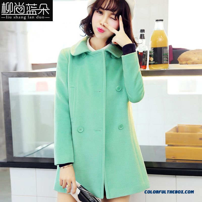 Winter Finest Quality Woolen Coats Slim Thicken Green For Grils