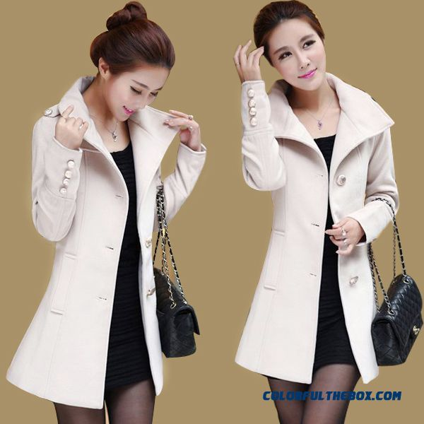Winter Finest Quality Woolen Coats Thicken Khaki White Free Shipping For Women