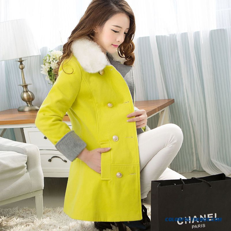 Winter Finest Quality Woolen Fur Collar Coats Yellow Medium Style For Women