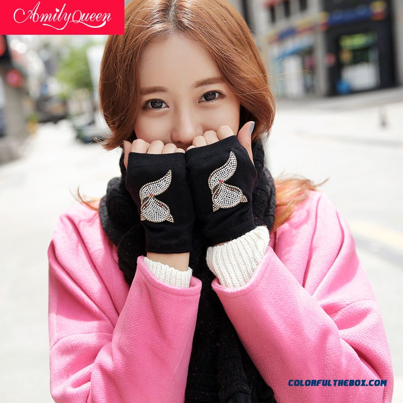 Winter Girl Women Cute With Diamond Knitted Cotton Couple Gloves Half Finger Mitts