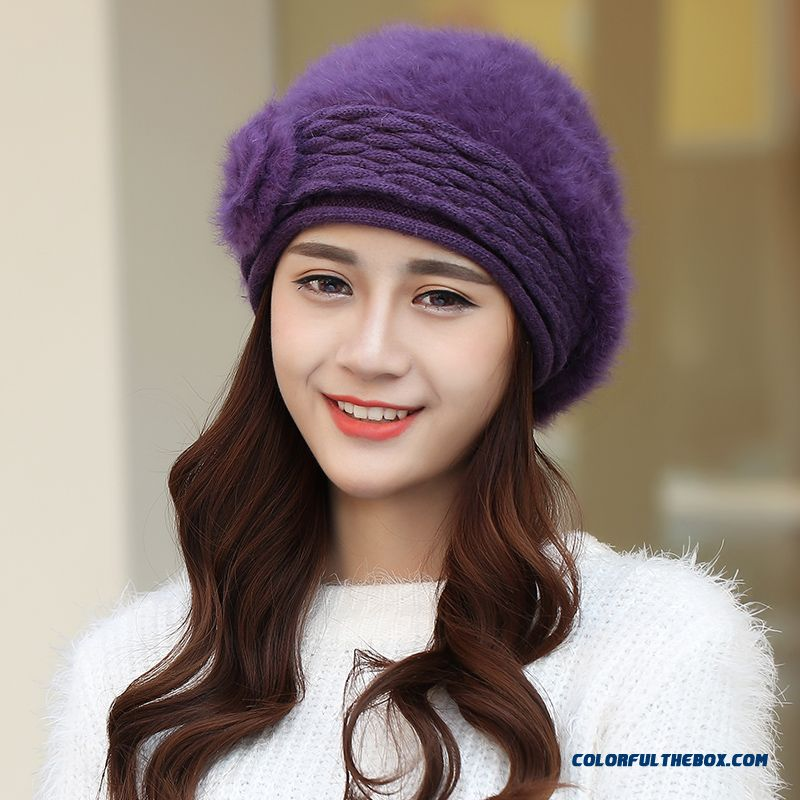 750aa5f8cb ... Winter Hat Women Korean Stylish Tide Women Warm Angora Knitted Beret Hat  Solid Accessories ...