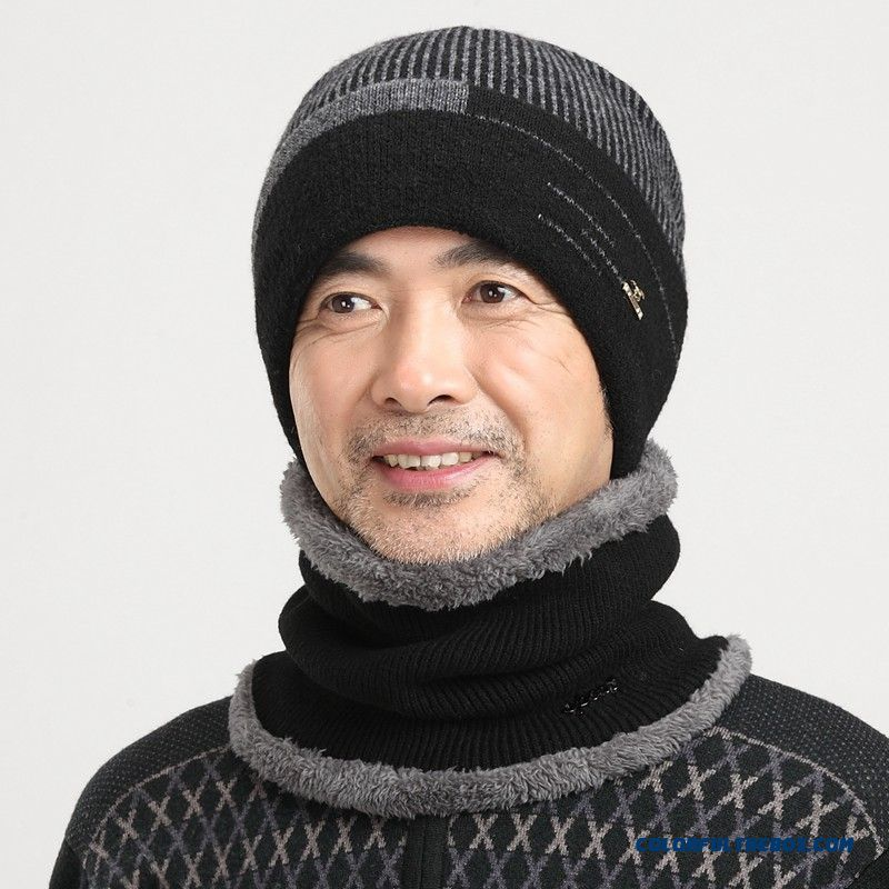 Winter Knitted Wool Weatherization Middle-aged Men Hat Free Shipping