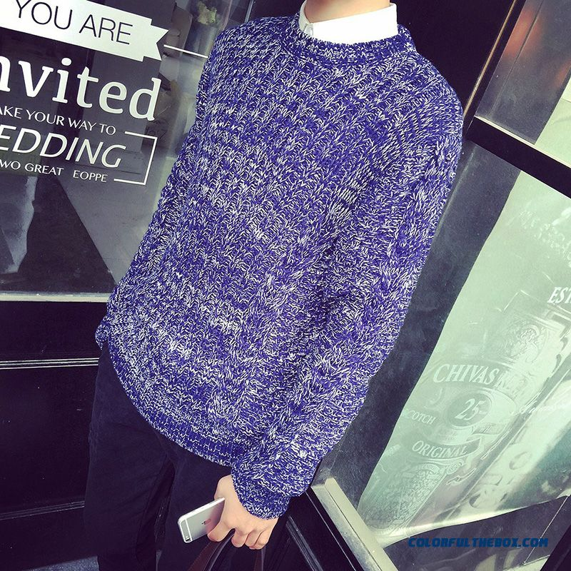 Winter Leep Warm Bottoming Shirt Slim Men Clothing Fashion Casual Round Neck Sweaters Knitwear