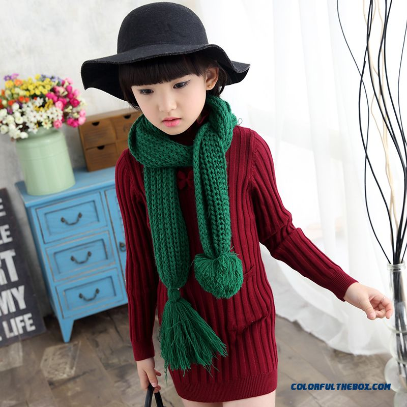 Winter Medium-long Style Thicker Pullover Sweater Girls' Clothing Kids Sweathers Red