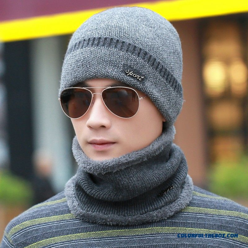 Winter Men Knitted Wool Cap With Same Style Of Thick Scarf Accessories Free  Shipping ... 363023f66ba