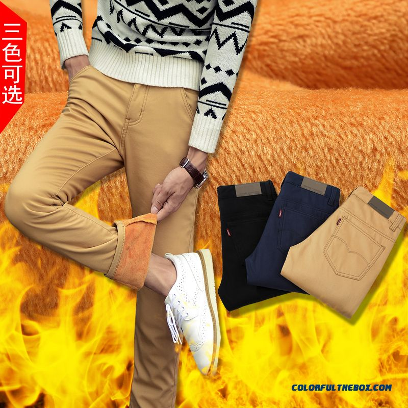 Winter Men Plus Velvet Thick Cotton Casual Straight Long Pants Tide Slim