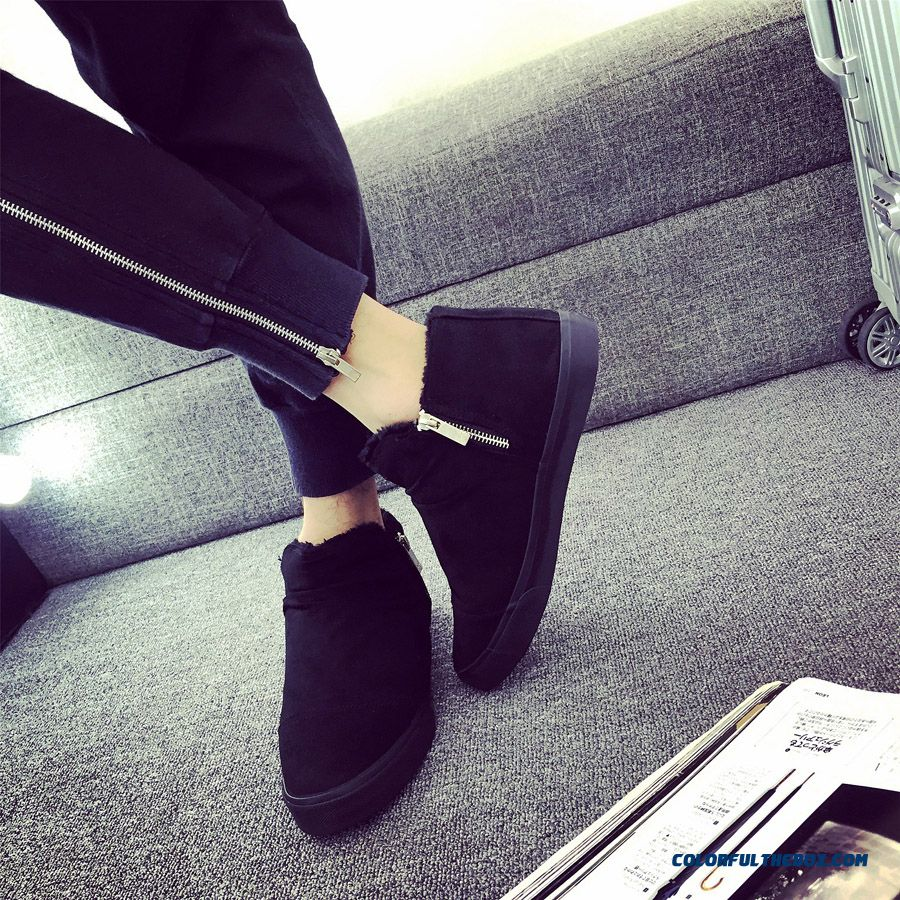 Winter Men Plus Velvet Thick Warm Shoes Without Shoelace High Top Shoes With Flats