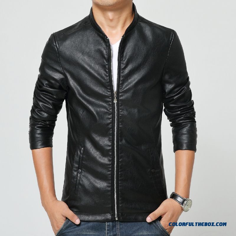 Winter Men Stand Collar Short Slim Leather Pu Casual Jacket Tide Youth