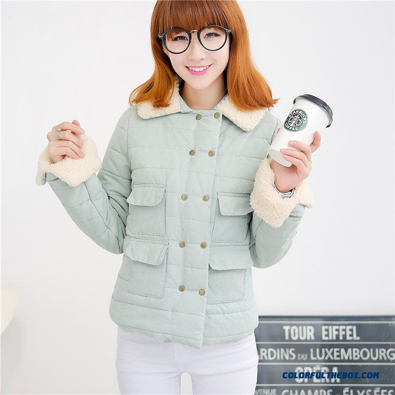 Winter New Female Coats Slim Short Thicken Pink Green Young Tide