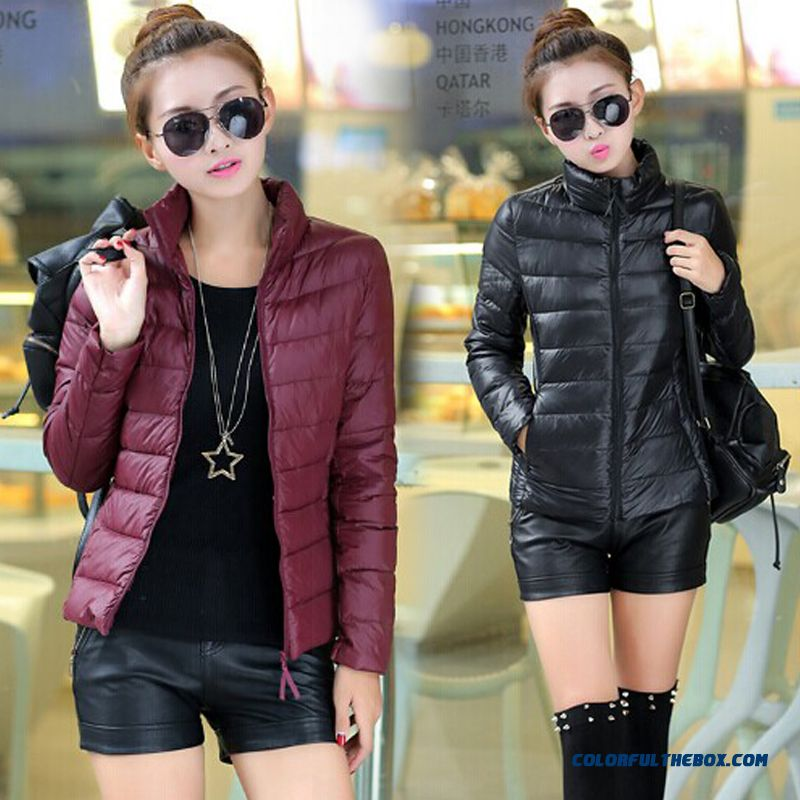 Winter New Female Coats Stand Collar Short Thin Black Deep Wine Laege Size