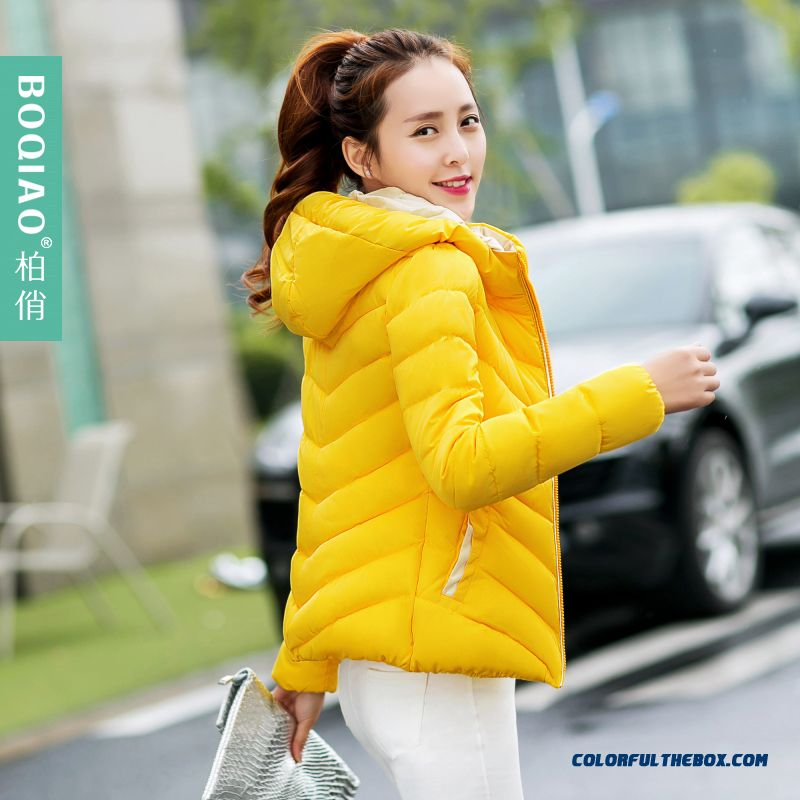 Winter New Female Hooded Coats Fshion Yellow Pink White Short Young
