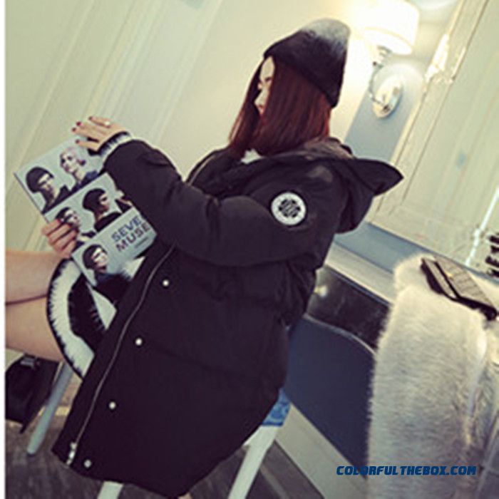 Winter New Female Hooded Coats Large Size Thicken Warm Black White Long