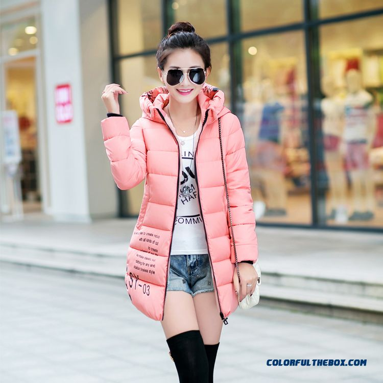Winter New Female Hooded Coats Pure Color Medium Length Pink Black Long
