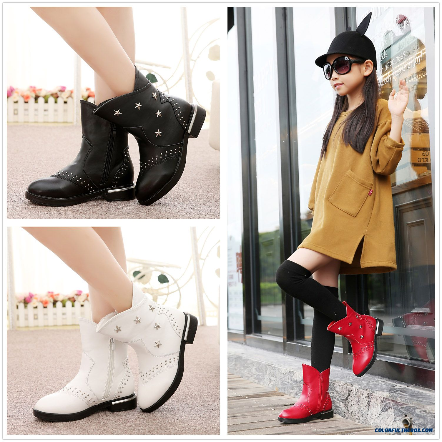 Winter New Girls Big Kids Leather Boots Child Boots Decorated Pentagram Cotton Shoes