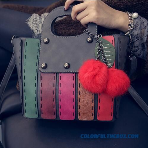 Winter New Korean Version Of Braided Colorful Fence Style Top-handle Bags Women Bags