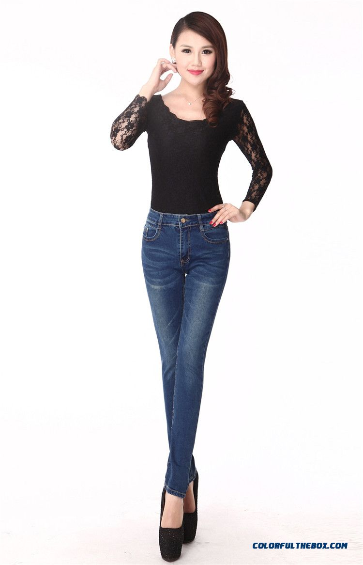 Cheap Winter New Large Size Women Middle Aged Clothing Elastic Thin High Waist Straight Jeans