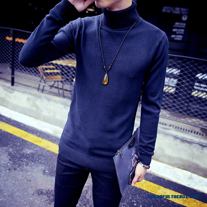 Winter New Men Sweaters Slim Height Neck Bottoming Knitwear Elastic Clothing Tide