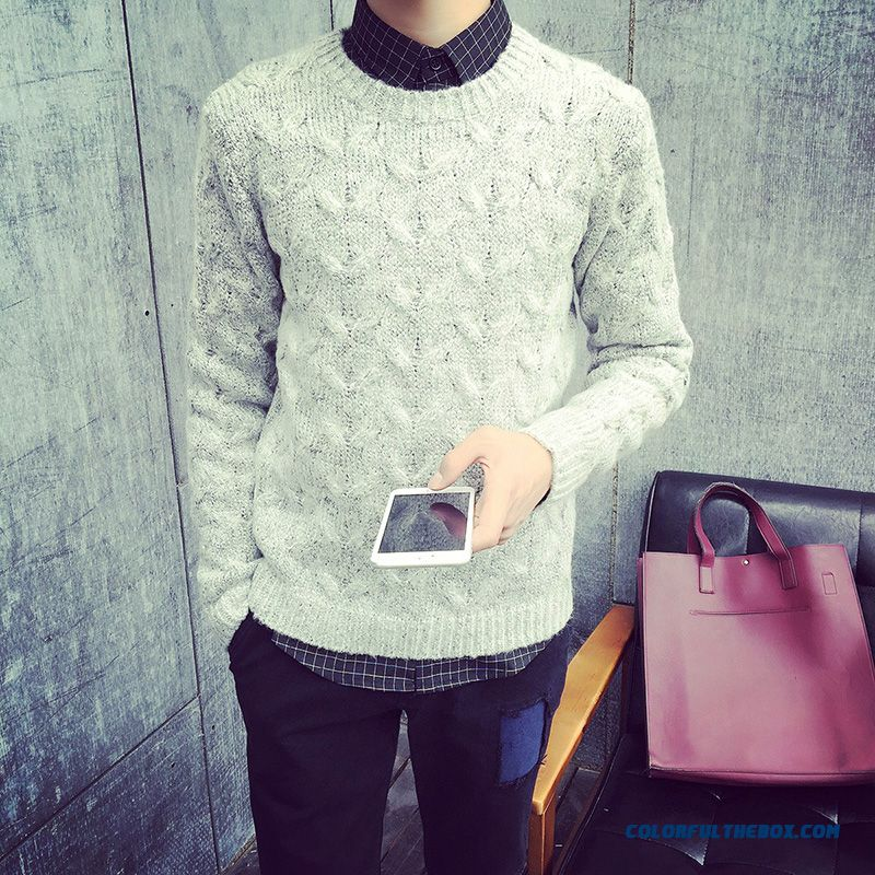 Winter New Men's Bottoming Slim Pullover Sweaters Long Sleeve Clothing
