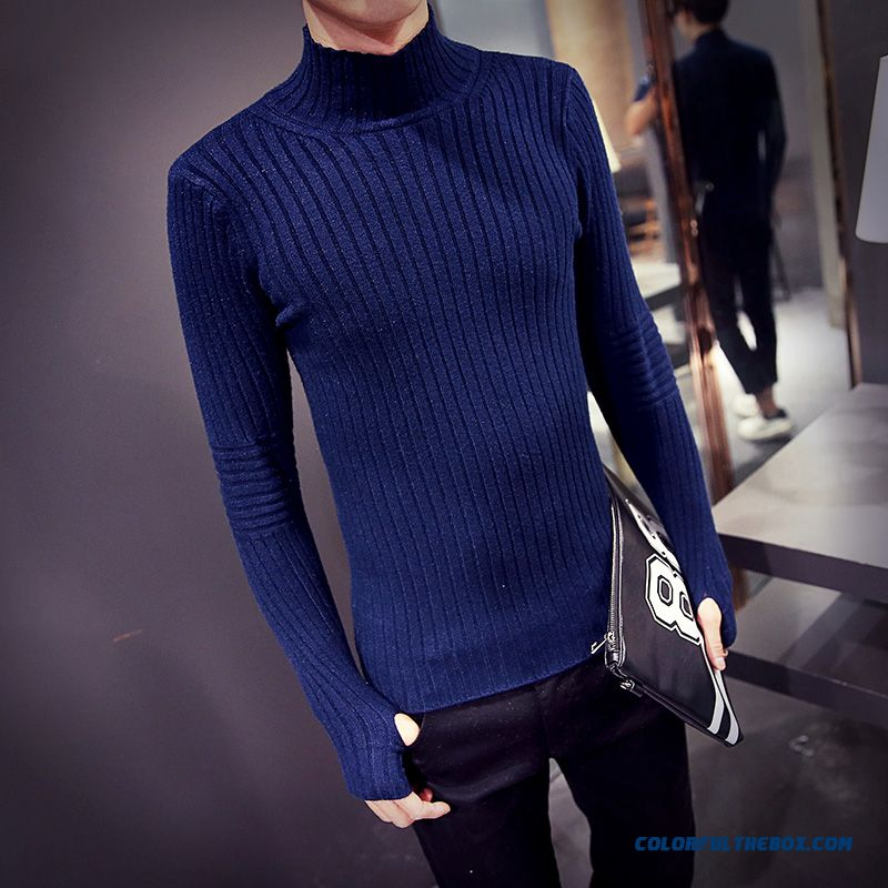 Winter New Men's Knitwear Bottoming Shirt Solid Color Slim High Neck Pullover Sweaters