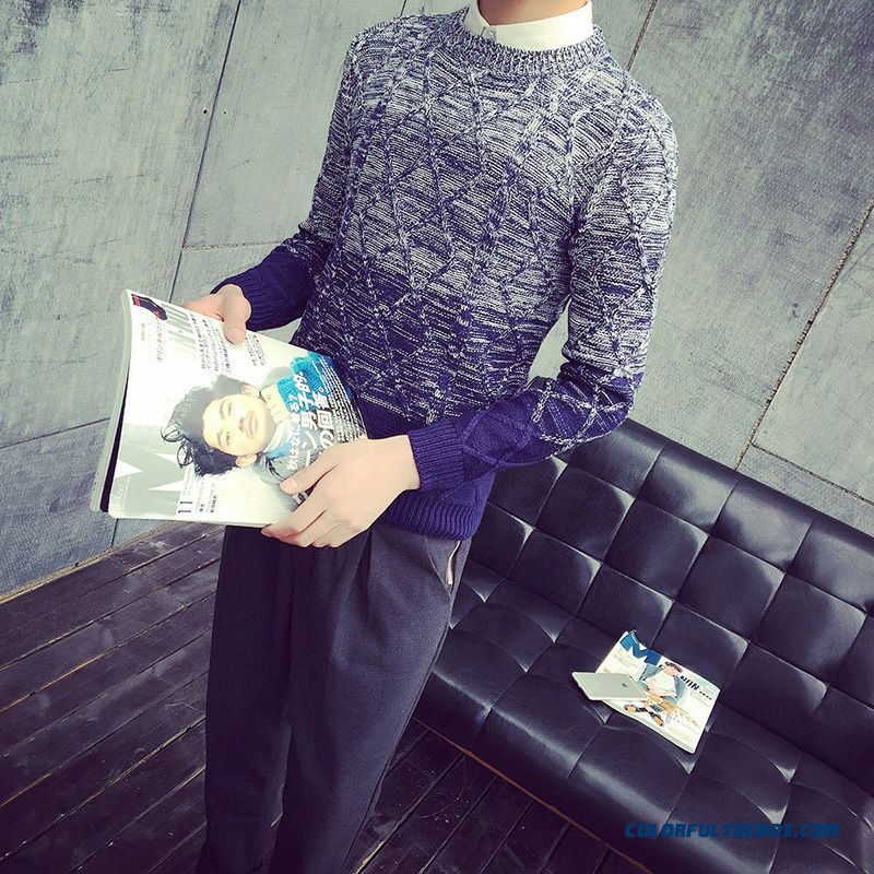 Winter New Men's Knitwear Thick Sweaters Gradient Color Bottoming Shirt Slim