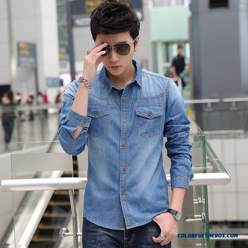 Winter New Men's Long-sleeved Denim Shirt Slim Casual Clothing Tide
