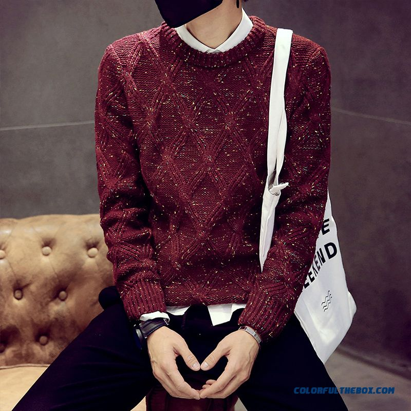 Winter New Men's Sweater Pullover Thick Round Neck Knitwear Diamond