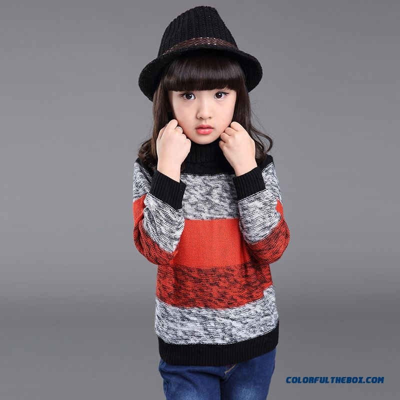 Winter New Striped Turtleneck Sweater Korean Style Big Girls Kids Clothing Free Shipping