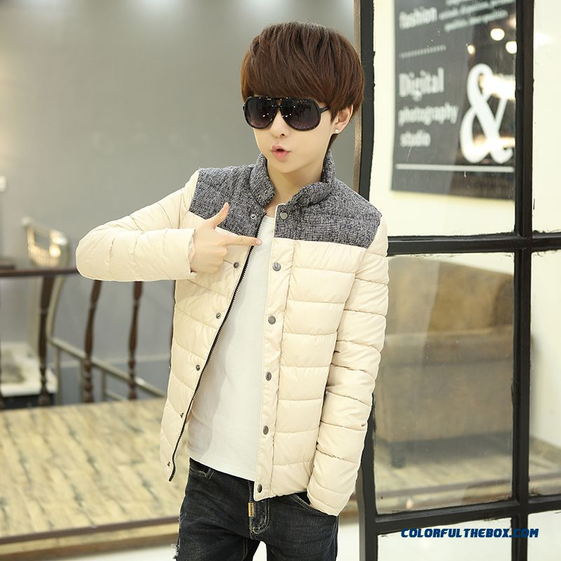 Winter New Teen Men Coat Casual Short Stand Collar Thick Cotton Coats Tide - more images 1