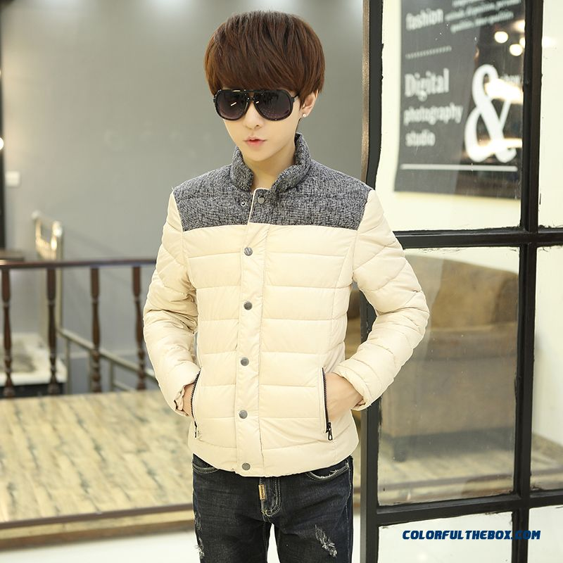 Winter New Teen Men Coat Casual Short Stand Collar Thick Cotton Coats Tide - more images 2