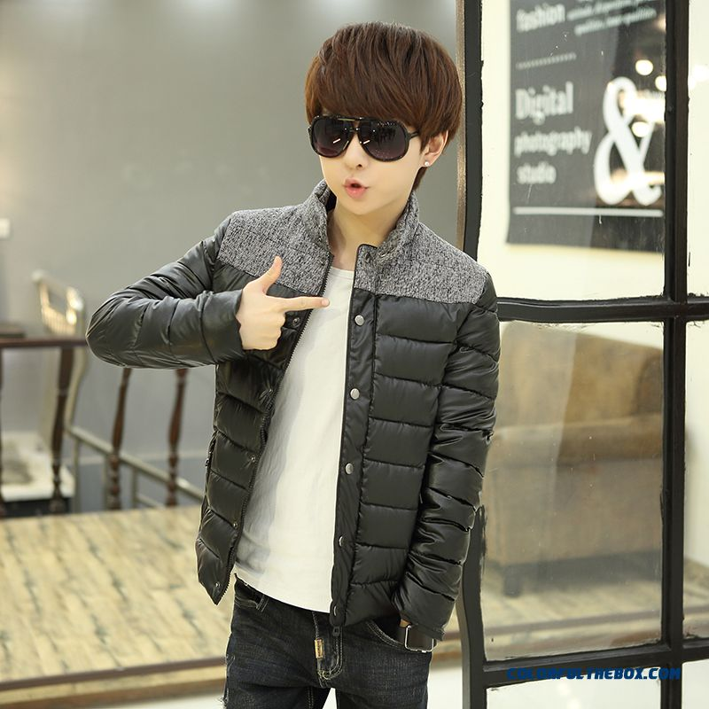 Winter New Teen Men Coat Casual Short Stand Collar Thick Cotton Coats Tide - more images 3