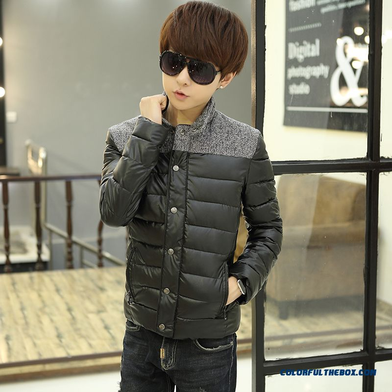 Winter New Teen Men Coat Casual Short Stand Collar Thick Cotton Coats Tide - more images 4