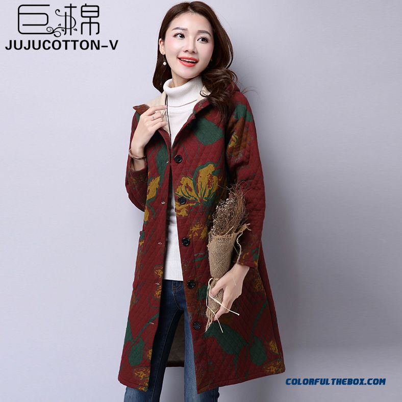 Winter New Women Coats Large Size Women Printed Cotton Quilted Hooded Jacket Medium Style Loose